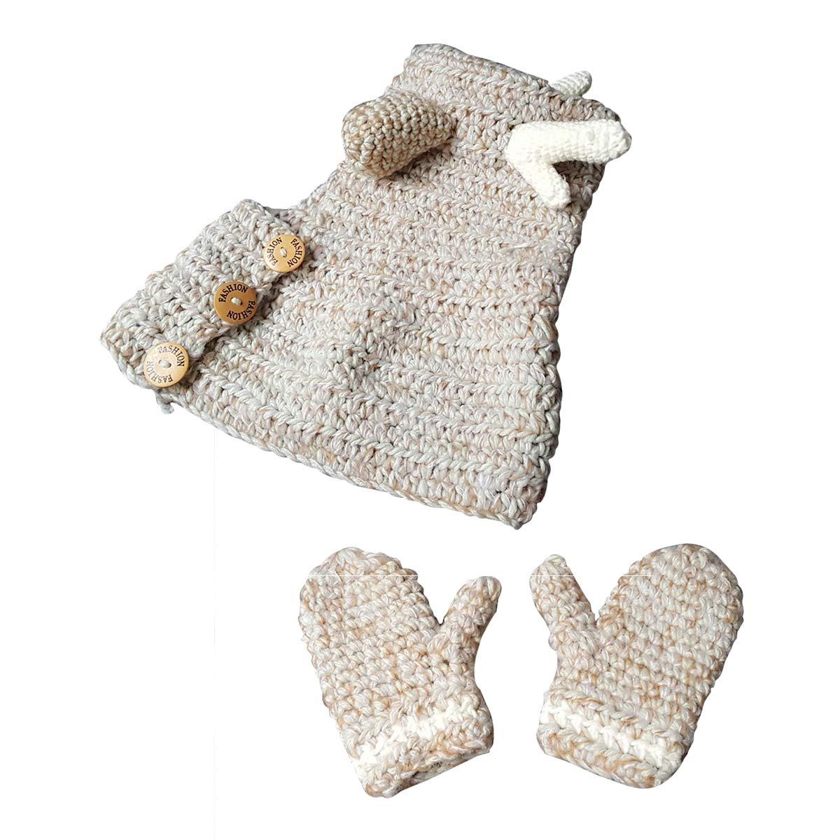 Fenical Cute Elk Hat Glove Set Animals Caps Neck Warmer Wrap Wool Knitted Beanie Gloves for Children Kids (Light Grey)