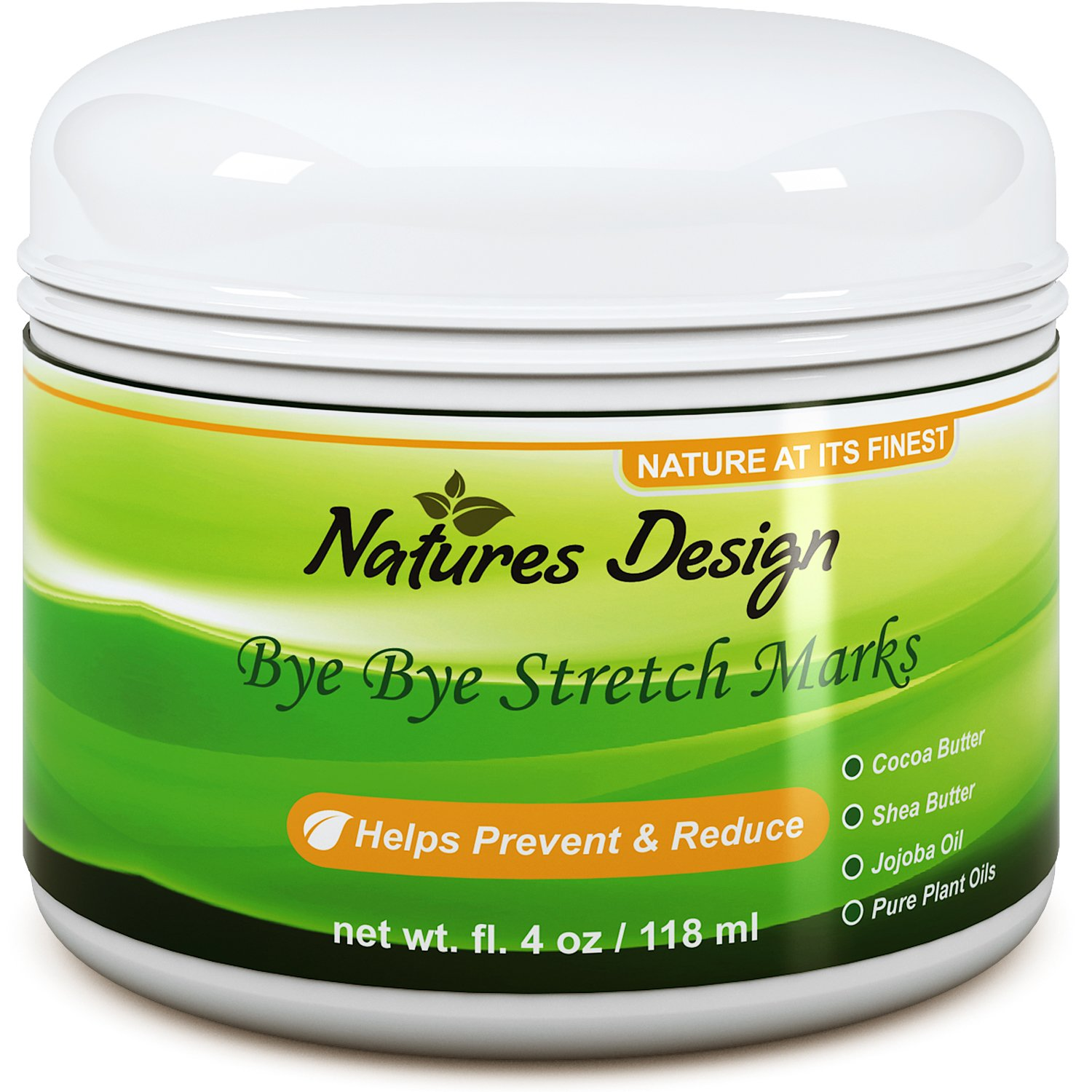 Effective Stretch Mark & Scar Fading Cream - Reduces Pregnancy Stretch Marks & Fades Scars, Fine Lines & Wrinkles Natures Design
