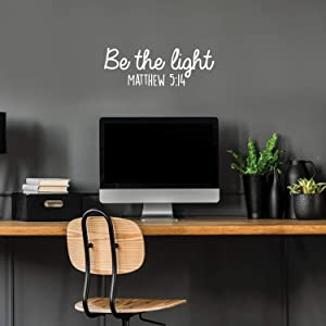 """Vinyl Wall Art Decal - Be The Light Matthew 5:14 - 9"""" x 25"""" - Modern Inspirational Religious Bible Verse Quote for Home Bedroom Office Church Decoration Sticker (White)"""