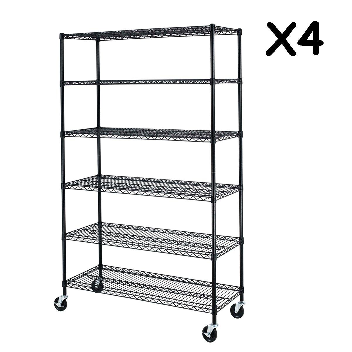6 Tier Adjustable Wire Metal Shelving Rack, 82x48x18-Inch, Black 4pcs