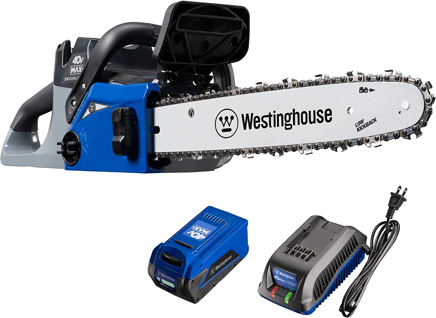 Westinghouse 40V Cordless Chainsaw, 4.0 Ah Battery and Charger Included