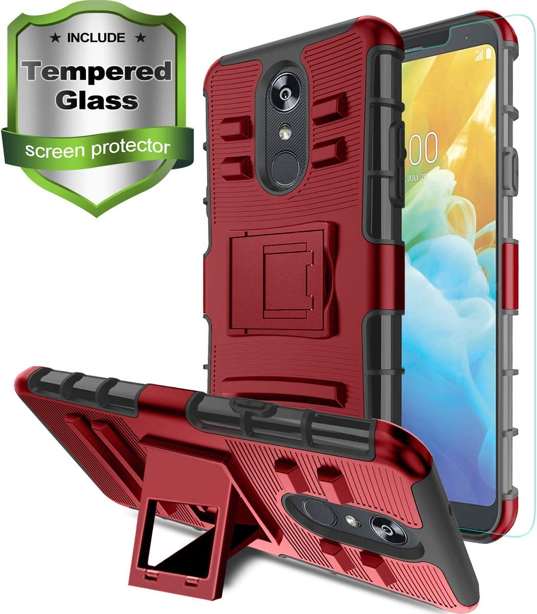 Aetech for LG Stylo 4 Phone Case / Stylo 4 Plus Case with Tempered Glass Protector Screen Kickstand Stand Cover Heavy Duty Durable for Women / Men, PC Red