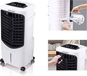 Honeywell Quiet, Low Energy, Compact Spot Fan & Humidifier, TC09PEU White Indoor Portable Evaporative Air Cooler