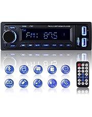Autoradio Bluetooth, 1 Din Radio de Voiture Audio, Stereo FM Radio 4x60W Poste Radio Voiture Soutien Bluetooth/USB/SD/AUX/EQ / MP3 / TF + Télécommande