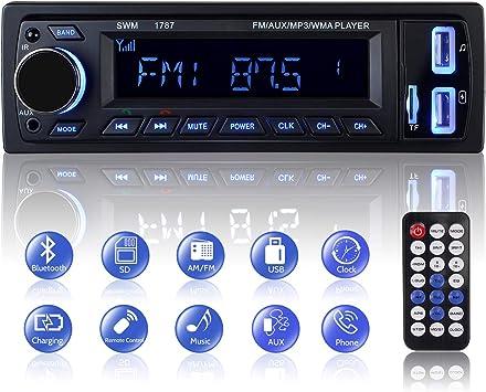 découvrir les dernières tendances meilleur service courir chaussures Autoradio Bluetooth, 1 Din Radio de Voiture Audio, Stereo FM Radio 4x60W  Poste Radio Voiture Soutien Bluetooth/USB/SD/AUX/EQ / MP3 / TF +  Télécommande