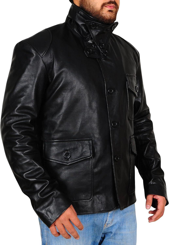 Mens Fashion Real Lambskin Leather Black Biker Jacket