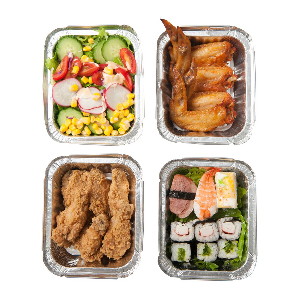 XIAFEI New Disposable Durable Aluminum Oblong Foil Pan, Take-Out Pans, Pack of 50 with PET Plastic Lids by XIAFEI (Image #6)