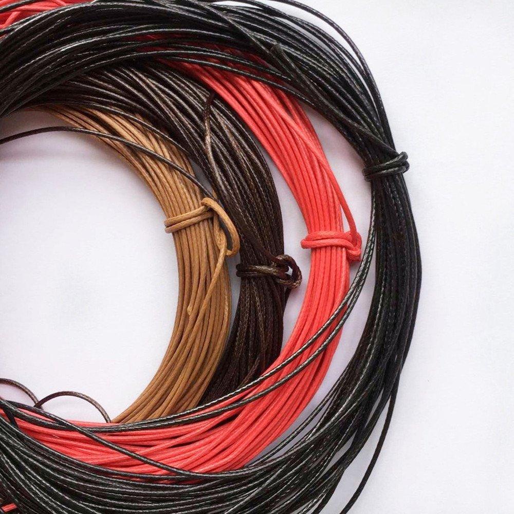 FITYLE 10m Fili Stringa Spaghi Cordino Cera Di Nylon Per Creazione Perline Gioielli Monili Fai Da Te Nero