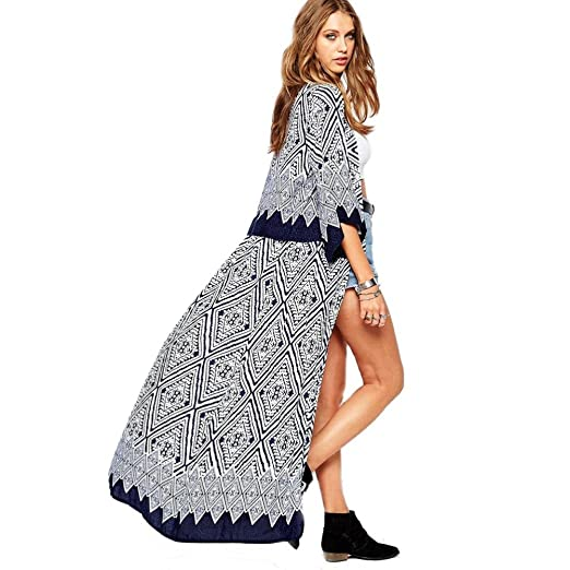 39f42783d09 Perman Women Boho Printed Chiffon Loose Shawl Kimono Cardigan Cover up  Blouse (S)