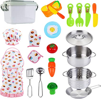 NONZERS 22 Pieces Cookware Toy Kitchen Pretend Play Toys with Stainless Steel Pots and Pans Set Apron and Chef Hat Cutting Vegetables Cooking Utensils Educational Learning Tool STEM Gift for Kids