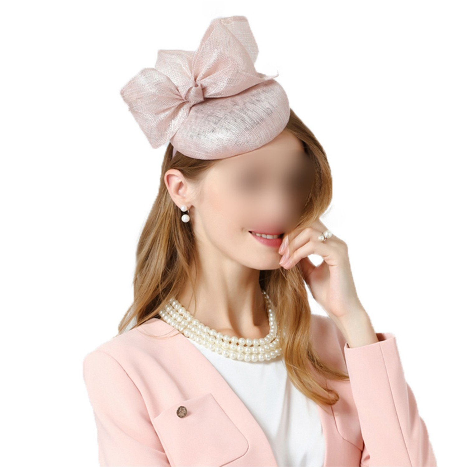 Fascinator Hat for Wedding Pink Pillbox Hat with Bowknot Summer Fedora for  Women Hair Accessories Linen Church Cocktail Hats at Amazon Women s  Clothing ... 6bf14dc7549