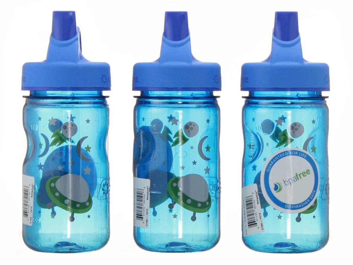 Nalgene Grip-n-gulp Everyday Kids Space Blue 12oz Water Bottle - 3 Pack 7.5 Inches Tall By 3 Inches in Diameter