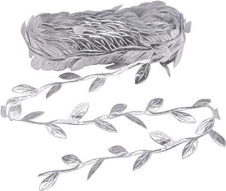 """Christmas Gold Leaf Trim Silver Garland 1/"""" Metallic Cut Out Leaf Trim"""