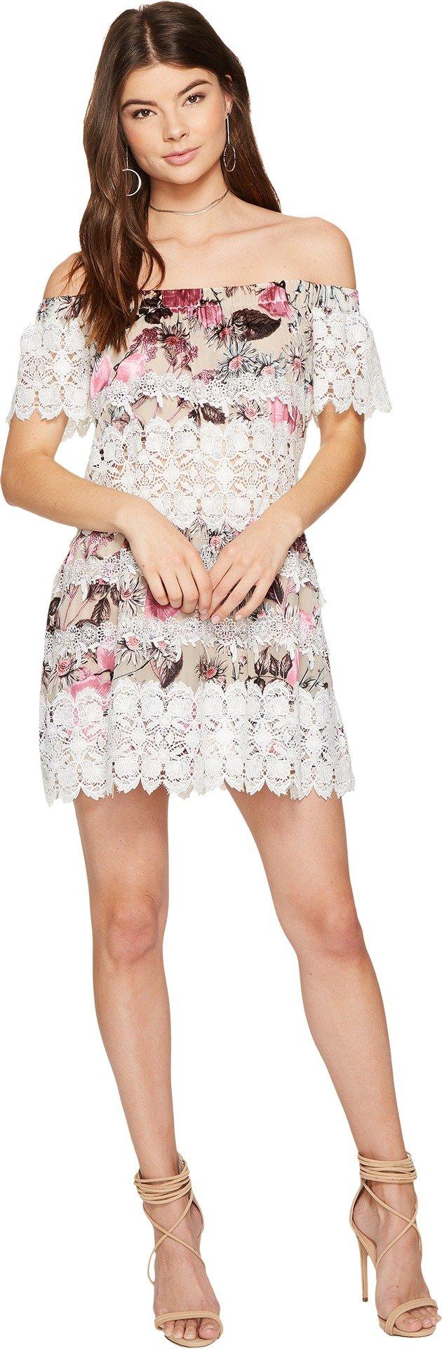 For Love and Lemons Women's Cadence Off the Shoulder Dress Pink Floral Dress