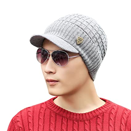 aa474b5a566b6 Image Unavailable. Image not available for. Color  Vovomay Men Winter Warm Knit  Hat Wool Snow Ski Caps ...