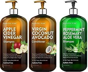 Majestic Pure Apple Cider Vinegar Shampoo and Avocado Coconut Conditioner Set and Peppermint Rosemary Aloe Vera Shampoo Bundle – 16 fl oz each
