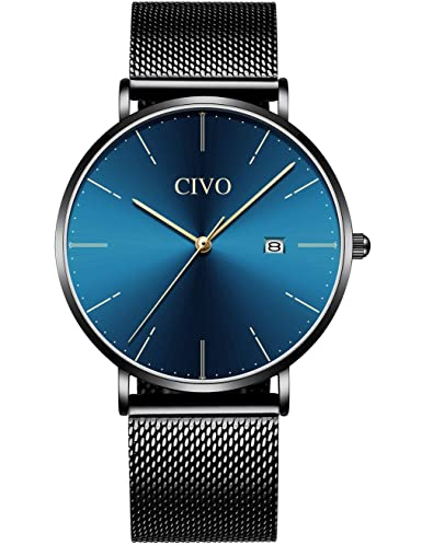CIVO Relojes Hombre Lujo Impermeable Negro Minimalista Reloj de Acero Inoxidable Moda Deportivo Caballero Analogico Casuales Clásico Negocios Calendario ...