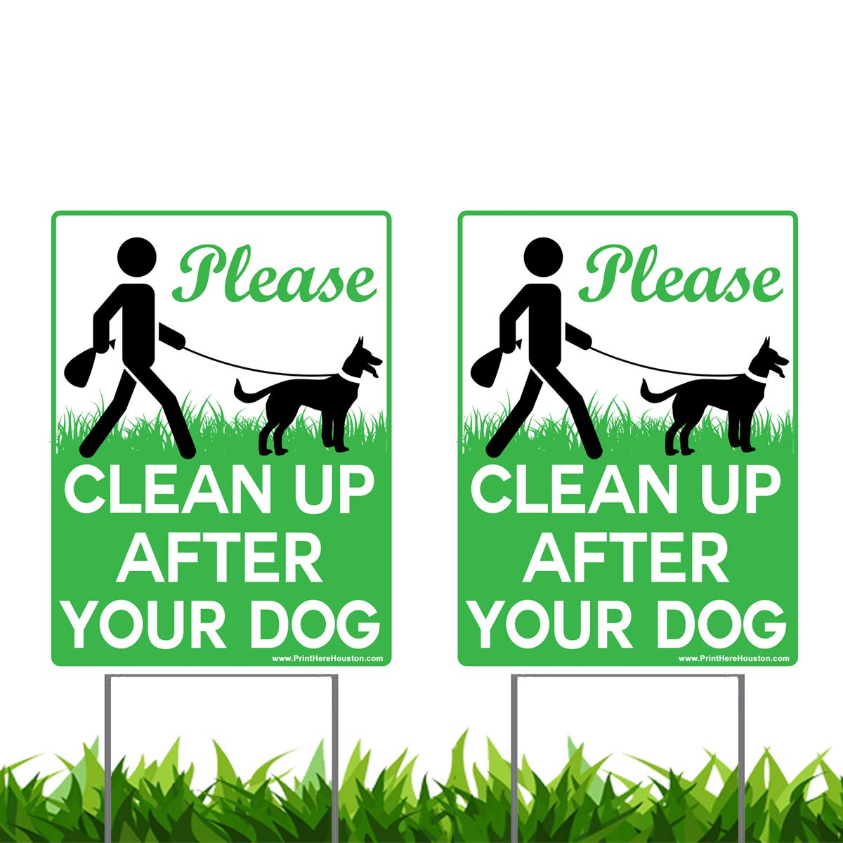 Vibe Ink 2 Pack of 9 x 12'' Please Clean Up After Your Dog - No Pooping Dog Lawn Signs with 2X Metal Wire H-Stakes Stands Included by Vibe Ink