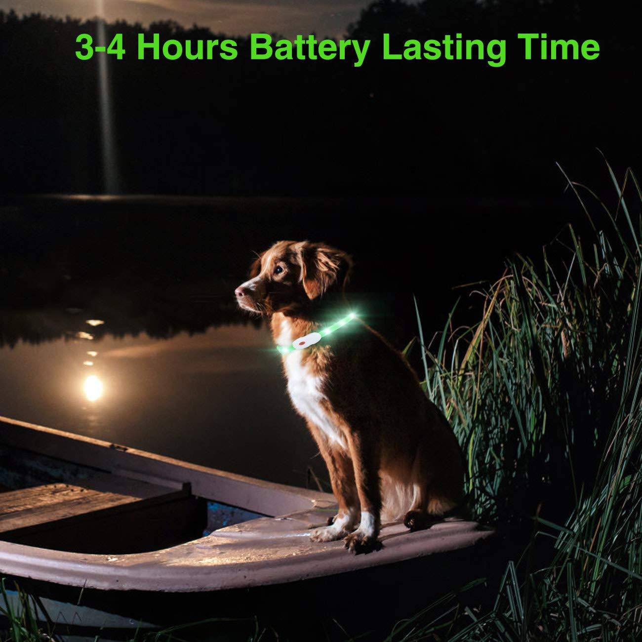 Rosso kolpop Collare Luminoso per Cani 55CM Collare LED per Cani Collare Luminoso per Cani Ricaricabile USB per Animali con 3 modalit/à dardore e Misura Regolabile Adatto per Tutti i Cani Gatti