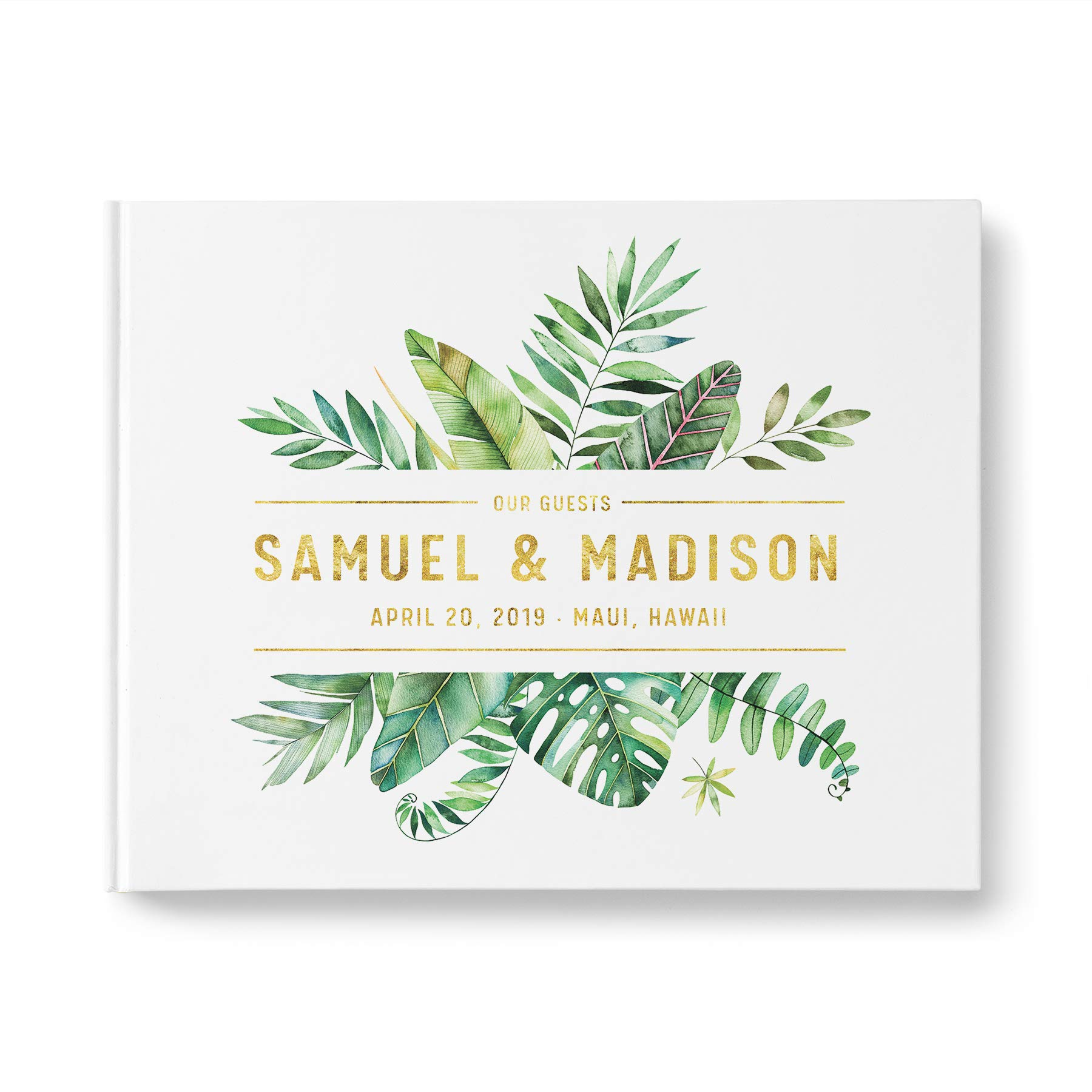 please + thanks Gold Foil Personalized Wedding Guest Book with Blank Pages, Casebound Hardcover, Landscape 10.9 x 8.75 inch, 40 Acid-Free Sheets (80 Pages Total)