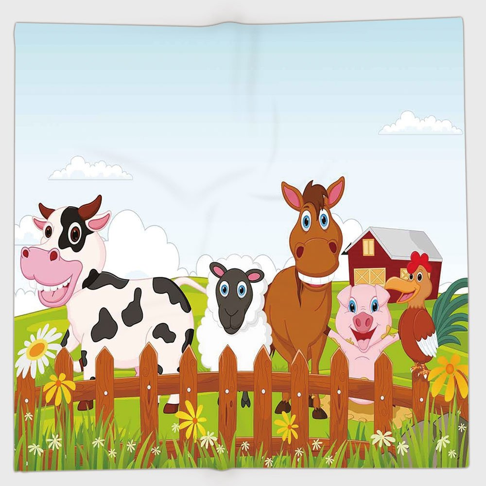 Cotton Microfiber Hand Towel,Animal,Cute Farm Creatures with Cow Horse Goat Pig and Chicken by the Fences Kids Cartoon,Multicolor,for Kids, Teens, and Adults,One Side Printing