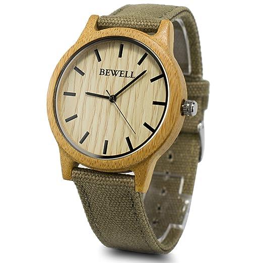 47405ee4936c Bewell - Reloj madera de correa de tela reloj luz peso ultrafino reloj de  pulsera cuarzo w134 a  Amazon.es  Relojes
