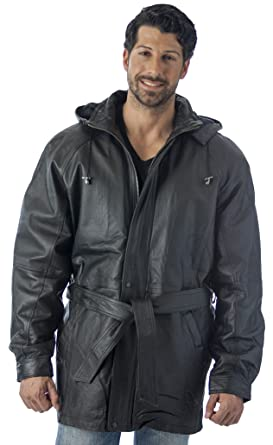 Men's Hooded Parka Leather Jacket with zip-out Hood at Amazon ...