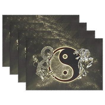 721c9b9734fd Amazon.com: BAIHUISHOP Chinese Dragon Tiger Tai Bagua Yin Yang Black ...