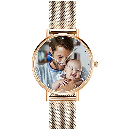 0214ba860024 SOUFEEL Personalized Photo Watch for Women Girls Men Adjustable Stainless  Steel Leather Band Quartz Movement