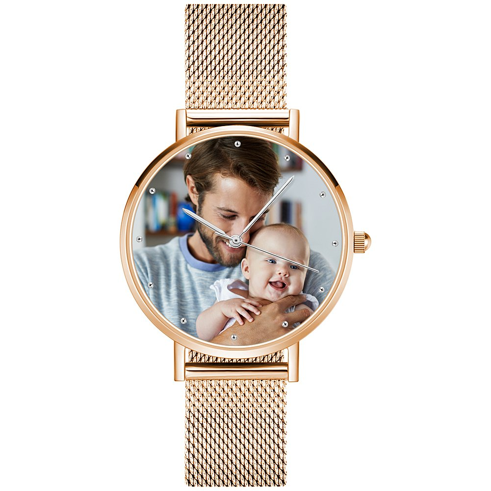 SOUFEEL Personalized Watches Waterproof Wrist Watch Rose Gold Plated Custom Photo Watch for Women Men 40mm
