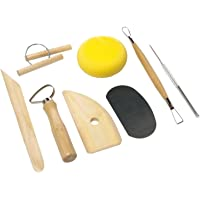 KABEER ART Pottery Tool Kit with Sponge (Biege) - 8 Pieces