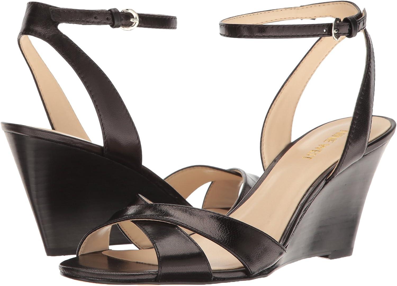 Nine West Womens Kami Leather Wedge Sandal