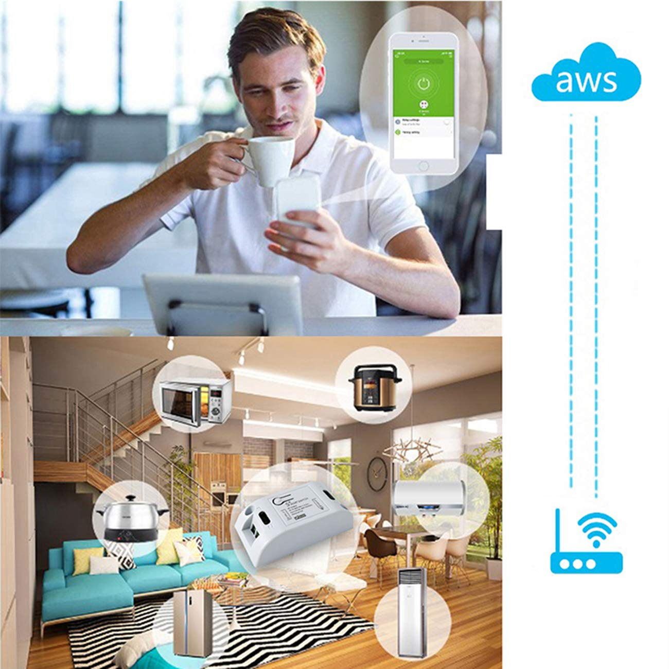 HHC Smart WiFi Commutateur Intelligent T/él/écommande Timer Interrupteur sans Fil Smart Home Automation Minuterie de Sortie Compatible avec Alexa Google Home IFTTT Via iOS /& Android 90-250V