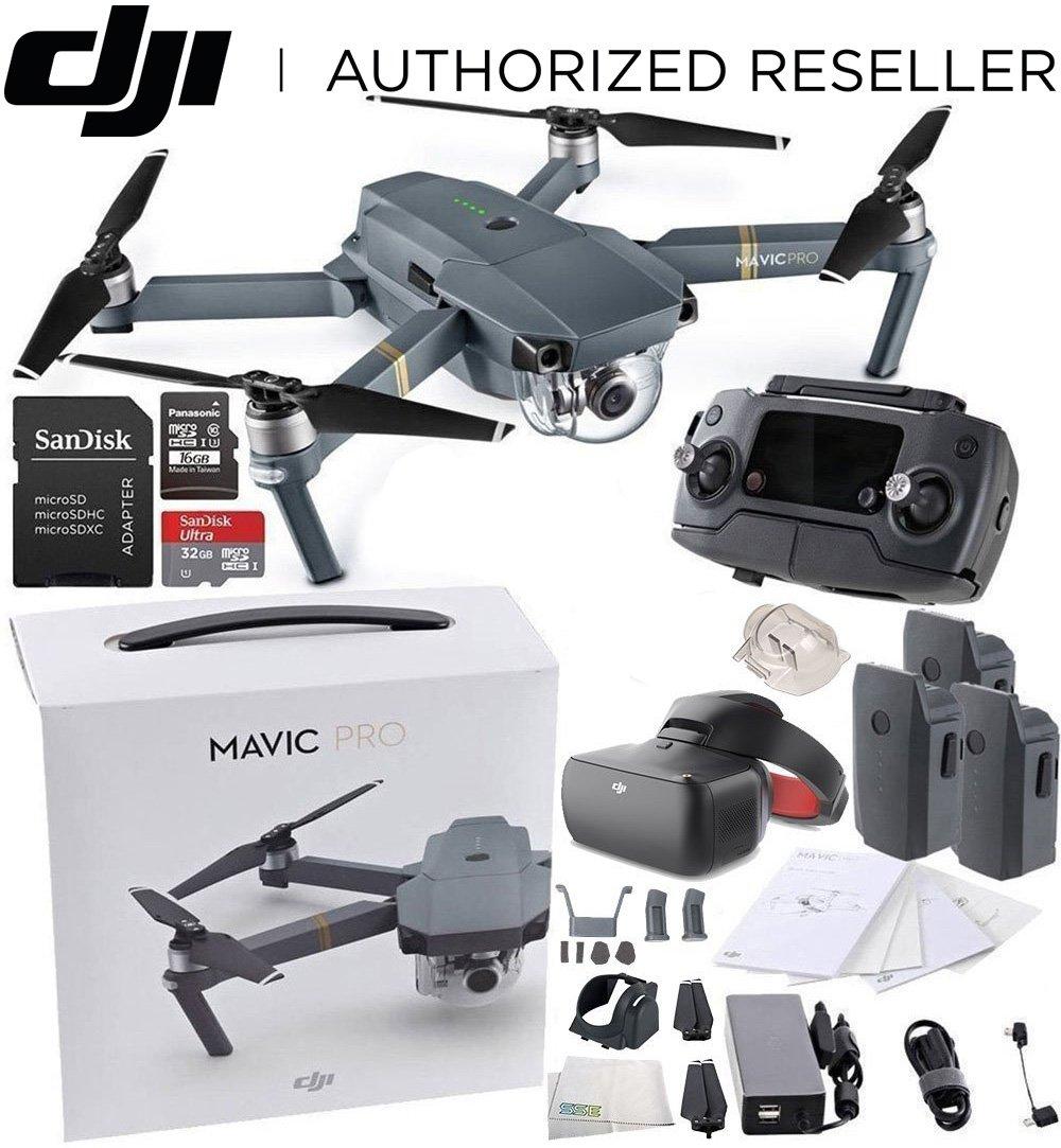 DJI Mavic Pro Collapsible Quadcopter + DJI Goggles Virtual Reality VR FPV POV (Racing Edition) Experience Ultimate Bundle