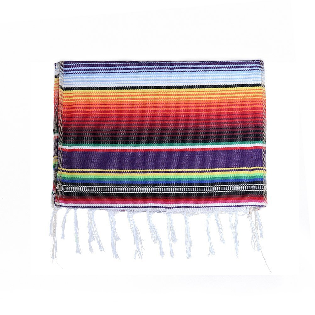 Topgad 14 x 84 inch Vibrant Colored Mexican Serape Table Runner, Hand Woven Mexican Table Blanket Fringe Cotton Serape Table Cloth for Dining Mexican Party Wedding Holiday Decorations (1 Pack)