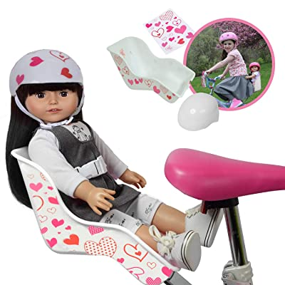 Doll Bike Seat and Doll Helmet (White Bike Seat): Toys & Games