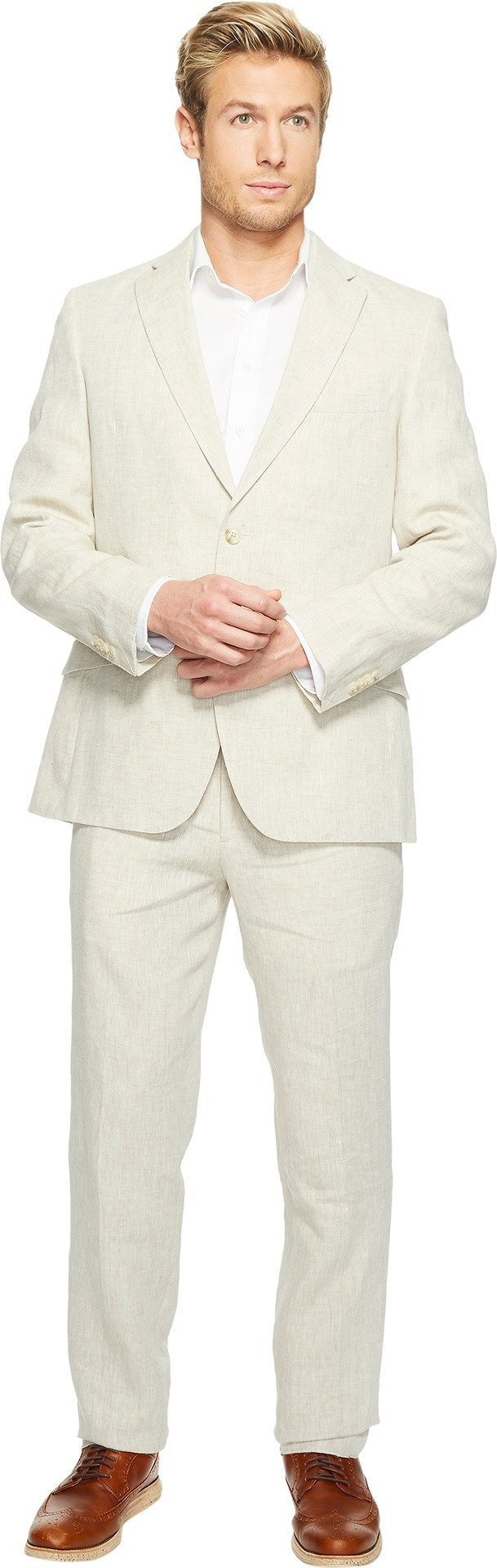 Kroon Men's Aim Active Inspired Movement Linen Suit With Flex Lining, Natural, 44 Long