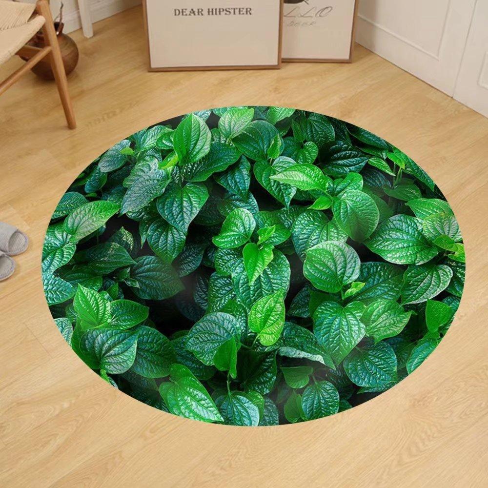 Gzhihine Custom round floor mat Material. Thai Medicinal Plants.(Piper Sarmentosum Roxb.)