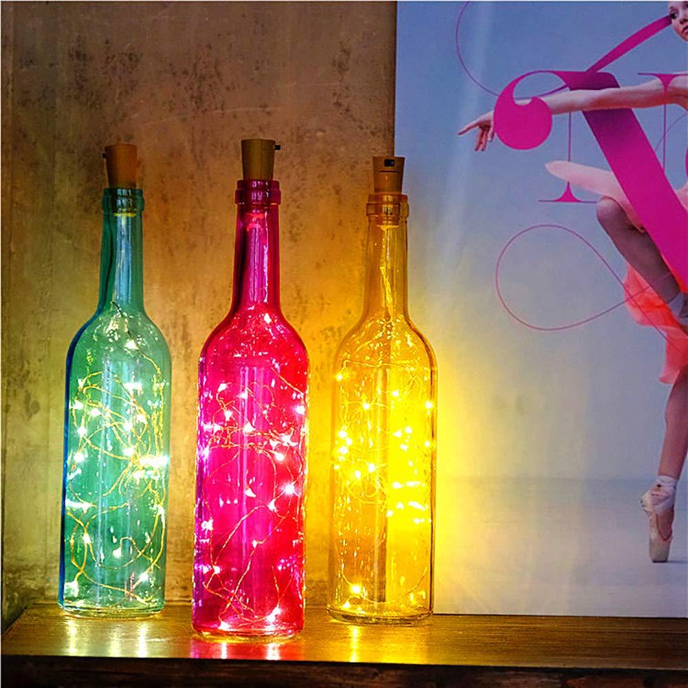 Luces de Botella de Vino,lámpara decorada,DIY Guirnaldas Luces Led Románticas para Boda, Navidad, Fiesta, Hogar, Exterior, Jardín, Terraza, Dormitorio ...