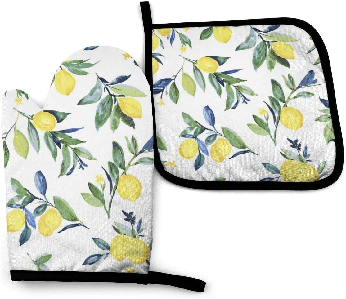MSACRH Lemon Oven Mitts and Pot Holders Sets of 2,Resistant Hot Pads with Polyester Non-Slip BBQ Gloves for Kitchen,Cooking,Baking,Grilling