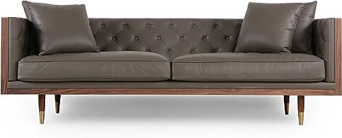 Kardiel Woodrow Neo Classic Midcentury Modern Sofa, Walnut Grey Aniline Leather