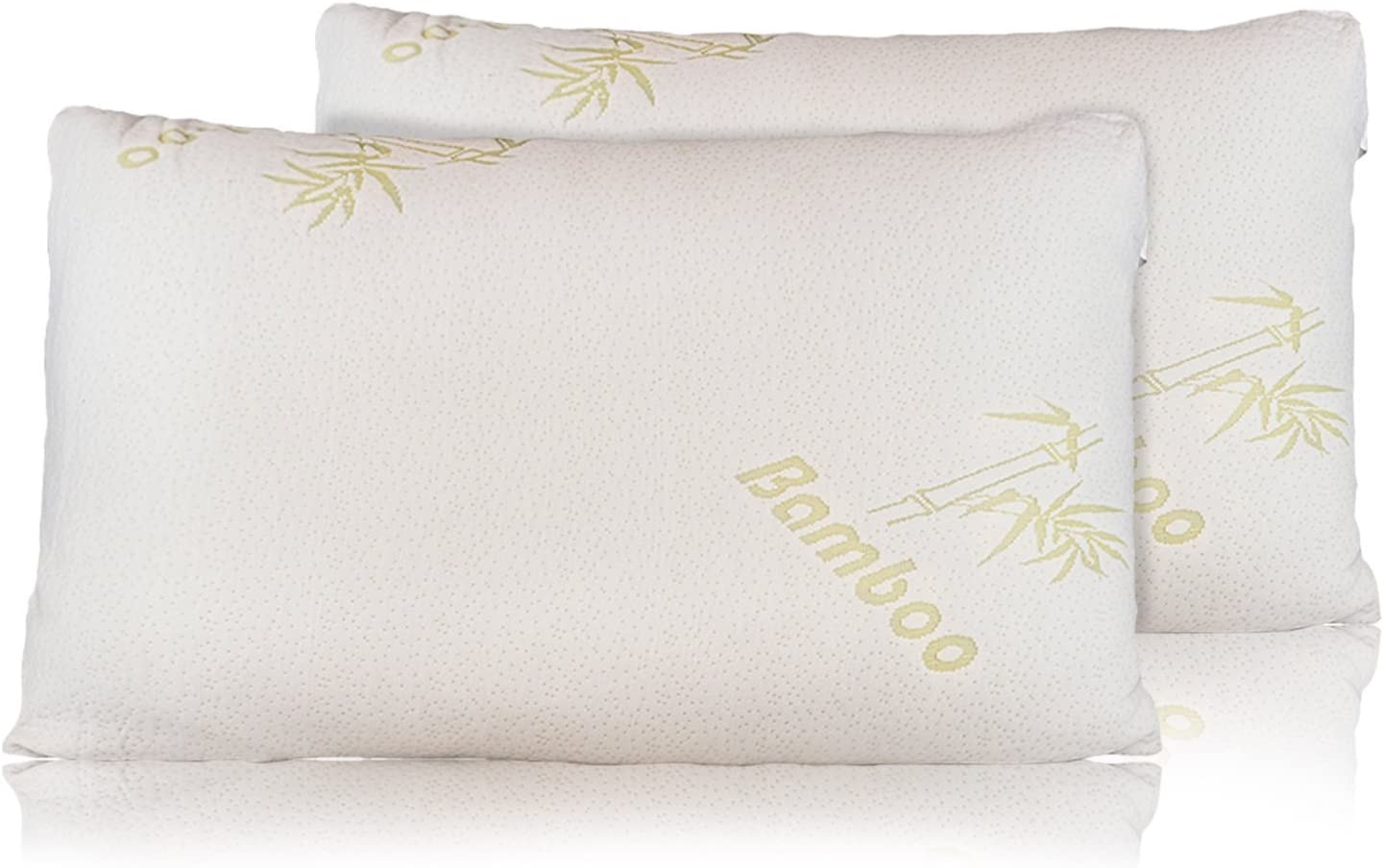 Relax Home Life - Firm Bamboo Pillow With Shredded Memory Foam and Cool Removable Cover (2Pk King)