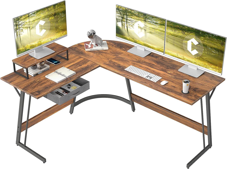 CubiCubi Modern L-Shaped Desk Computer Corner Desk, 59.1