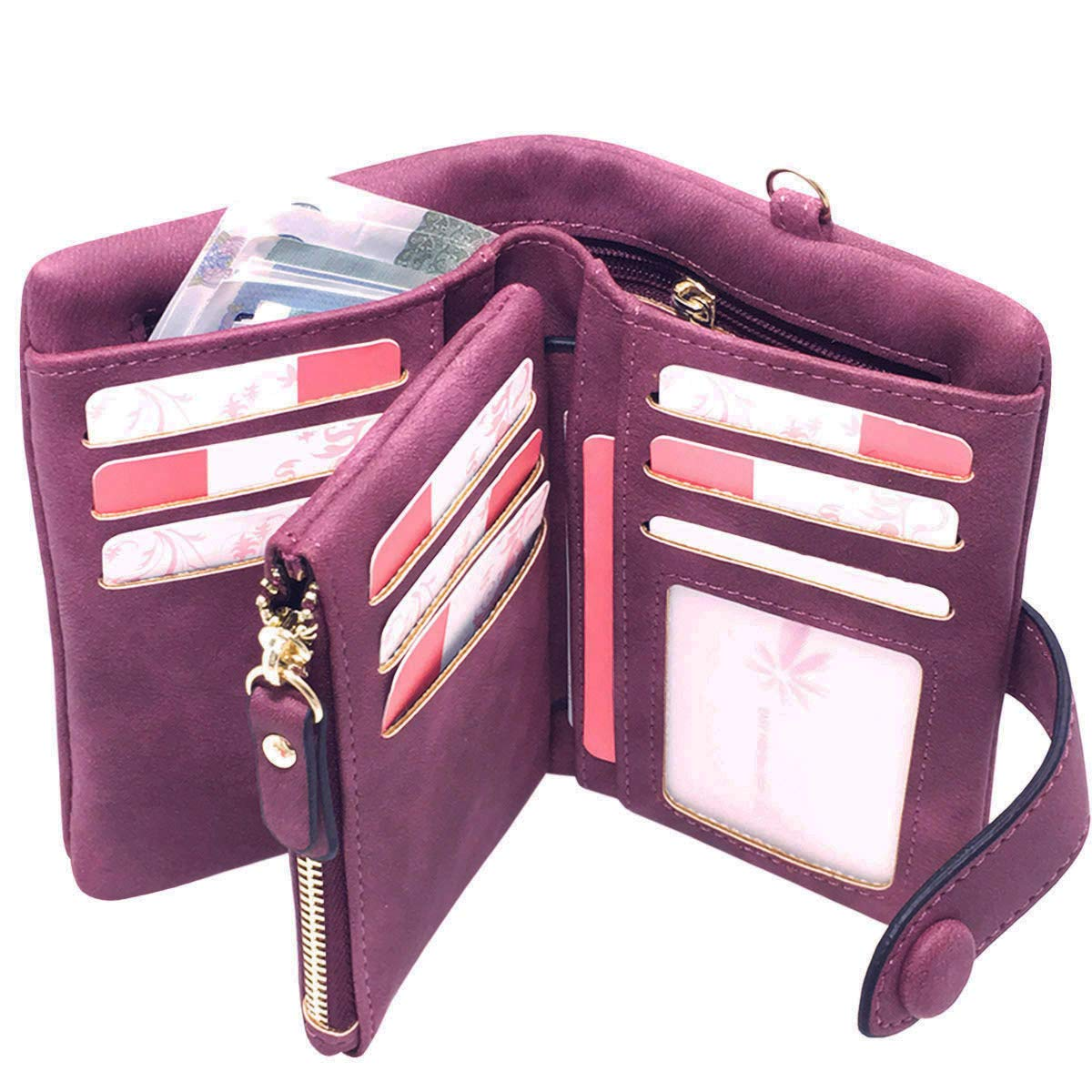 Rfid Leather Wallets for Women Ladies Wristlet Clutch Large Capacity Zipper Purse for Coins Card Holder Organizer(Purple)