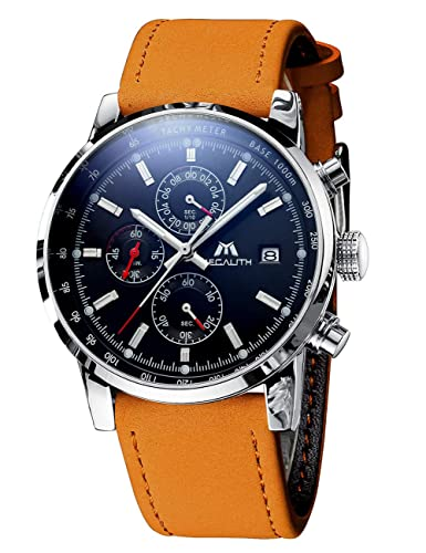 93fb25bbed Mens Watches Men Military Sport Waterproof Chronograph Date Brown Leather  Wrist Watch Business Casual Analogue Quartz Watches for Men  Amazon.co.uk   Watches