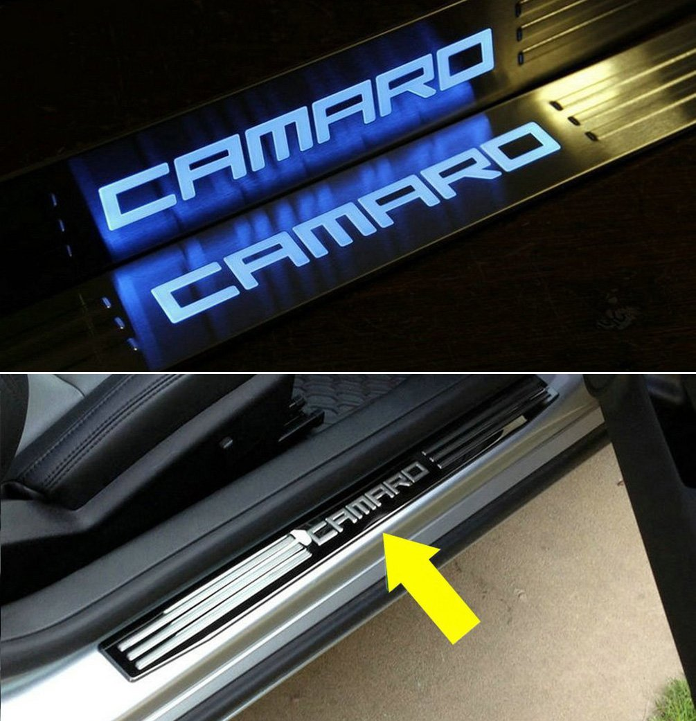 LED Light Illuminated Door Sill Scuff Plate Cover for GM Chevy Chevrolet Camaro 2010 2011 2012 2013 2014 2015(blue light) 454ab