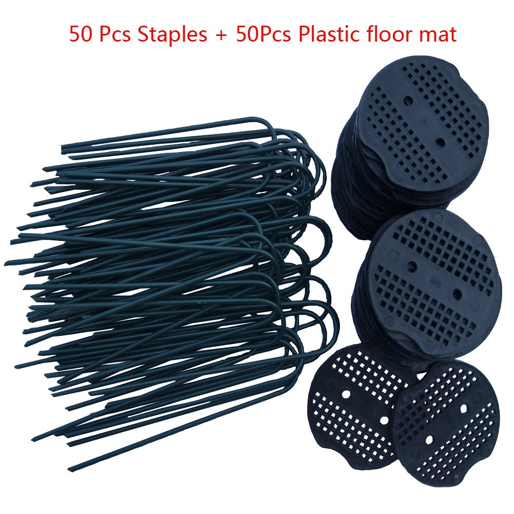 Garden Staples, 50Pcs Landscape Pins +50Pcs PlasticCoated, Garden Stakes 6 inch 11-gauge Rust Resistant Steel Lawn U Pins Pegs with Plastic Gasket for Anchoring Landscaping, Ground Cover,Weed Barrie