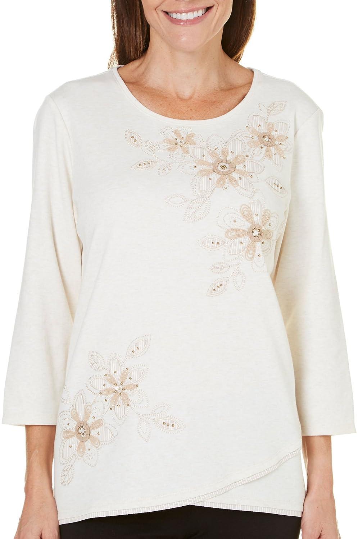 Alfred Dunner Women's Just Peachy Stripe Floral Yoke Asymmetric Top