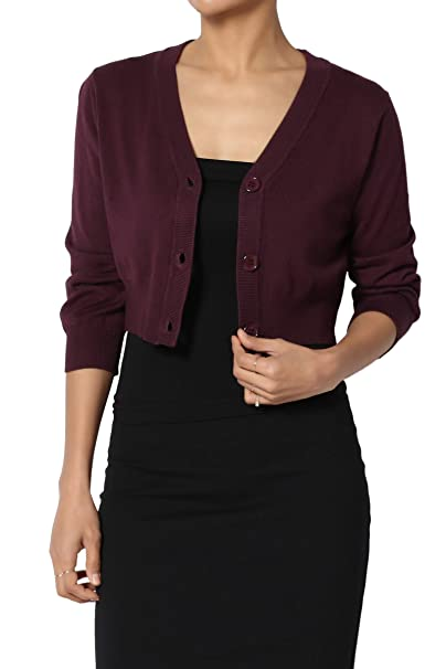 TheMogan Women s 3 4 Sleeve Button V-Neck Knit Sweater Crop Cardigan Dark  Plum 879600f98