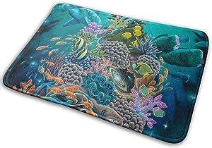 YOFFYO Non-Slip Stain Fade Resistant Bathroom Mat Absorbent Bath Shower Mat for Indoor/Outdoor/Frontdoor/Bedroom/Livingroom/Kitchen Ocean Good Luck Turtle Hammerhead Sharks